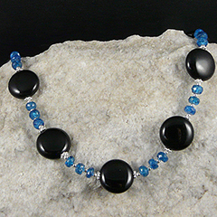 onyx and apatite handmade necklace