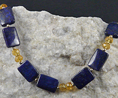 lapis and citrine handcrafted necklace