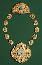 ancient turquoise and gold necklace
